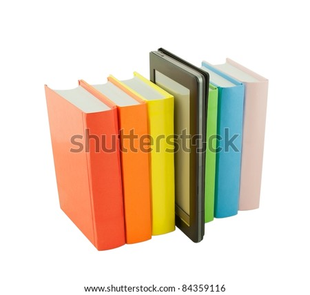 Row of colorful books and electronic book reader isolated on white - stock photo