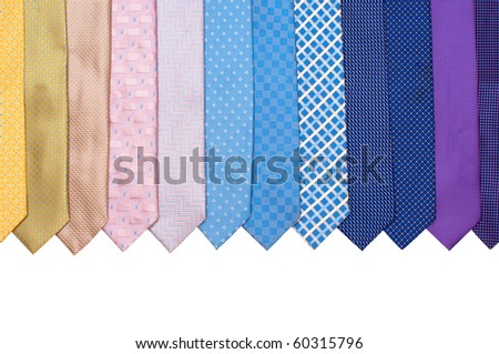 Row of colourful mens' ties on white background - stock photo
