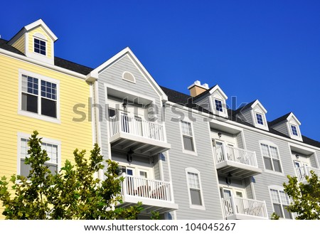 Row of condos - stock photo