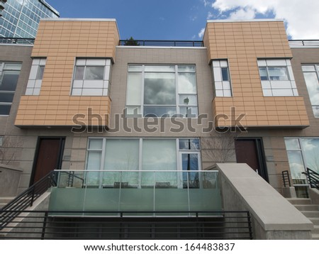 Row of contemporary townhouses near Union Station in Denver, Colorado. - stock photo