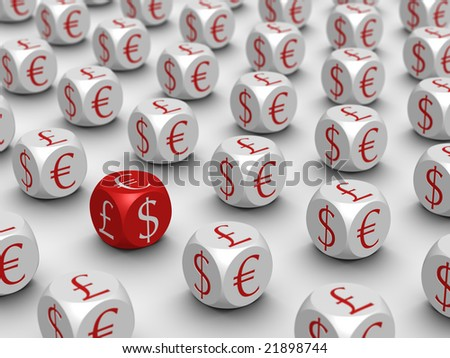 Row of cubes on white background - stock photo