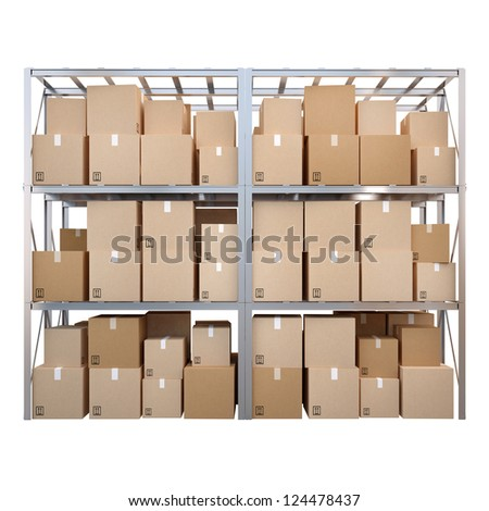 Row of 3d pallet racks with boxes isolated on white background - stock photo