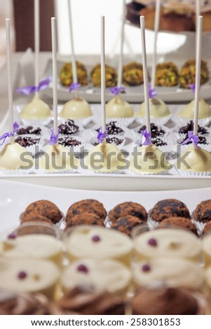 Row of delicious cake pops covered with white chocolate. Close up detail of sweet table at a pastel colored wedding reception. - stock photo