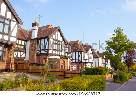 Row of detached homes in Woodford, Essex - stock photo