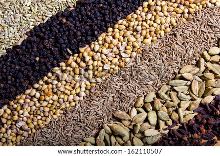 Row of dry spices background - stock photo