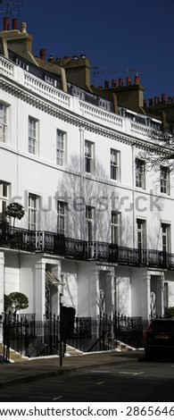 row of edwardian  houses in london - stock photo