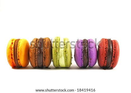 row of five macaroons on white background - stock photo