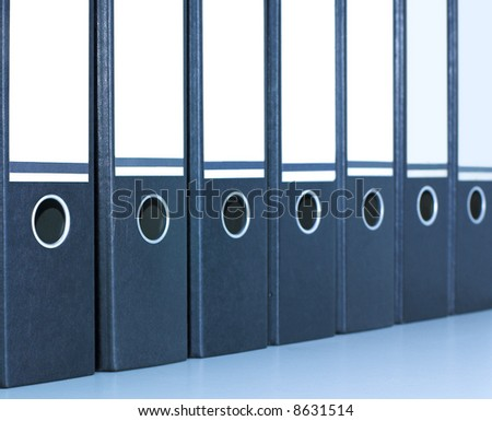 row of folders - stock photo