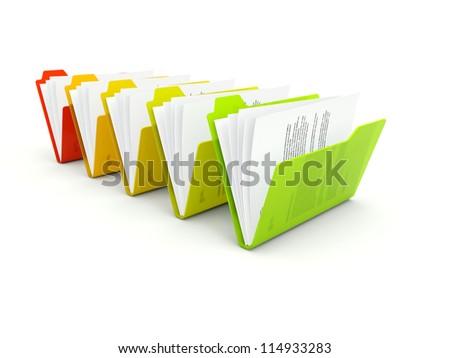 Row of folders isolated on white - stock photo