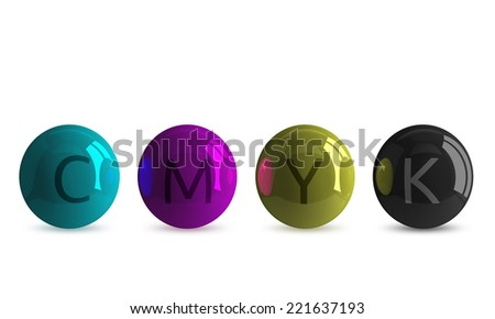 Row of four reflective spheres of CMYK colors: cyan, magenta, yellow and black, with corresponding letters, isolated on white - stock photo