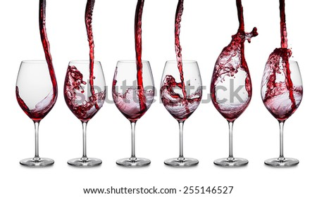row of glasses with red wine - stock photo