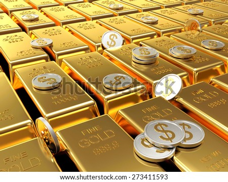 Row of golden bars and silver coins. Business and financial background  - stock photo