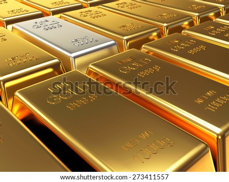 Row of golden bars. Business and financial background  - stock photo