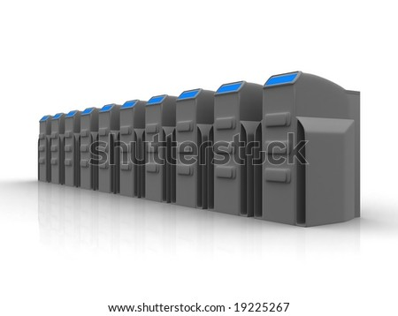 Row of grey servers - stock photo