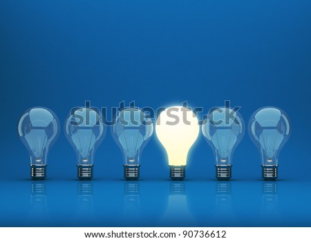 Row of light bulb 3D on blue background. Innovation concept. - stock photo