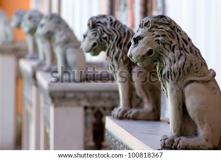 Row of lion statues from the Venetian Hotel, Las Vegas Nevada - stock photo