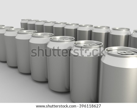Row of Metal Aluminum Beverage Drink Cans. 3D illustration. - stock photo
