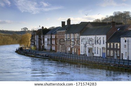 Row of mixed period buildings on the banks of the River Severn, Bewdley, Worcestershire, England. - stock photo