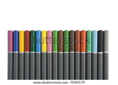 Row of Multi Coloured Pencils Isolated against White Background - stock photo