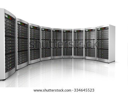 Row of network servers in data center isolated on white background  - stock photo