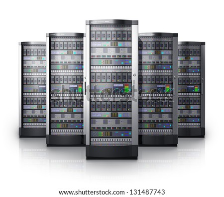 Row of network servers in data center isolated on white background with reflection effect - stock photo