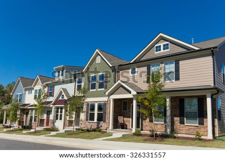 Row of new town homes - stock photo