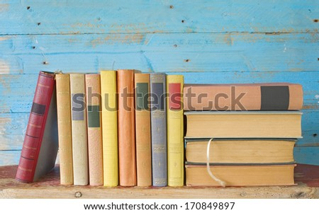 row of old books, free copy space  - stock photo