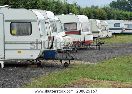 Row of Old-fashioned caravans - stock photo