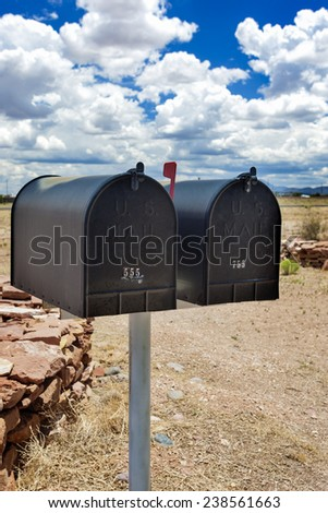 Row of Old Postboxes in Arizona State, USA. Vertical Image - stock photo