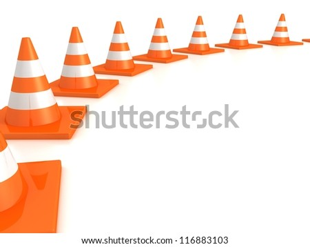 row of orange road traffic cones on white background - stock photo