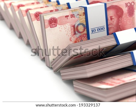 Row of packs of yuan. Lots of cash money. 3d - stock photo