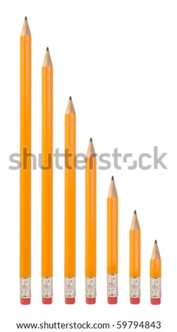 Row of Pencils Isolated on White Background - stock photo