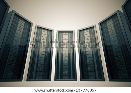 Row of rack mounted servers in data center with green LEDs. - stock photo