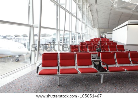 row of red chair at airport, shot in asia - stock photo