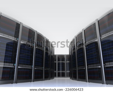 Row of servers in  data center with simple background - stock photo