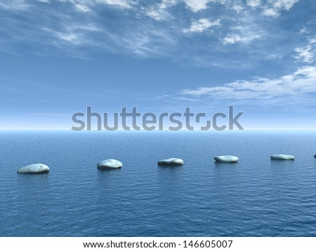 row of stones on water - 3d illustration - stock photo