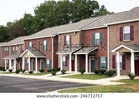 Row of town houses - stock photo