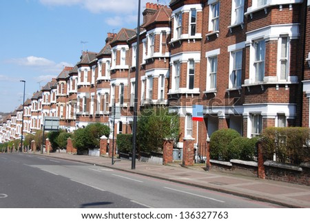 Row of Typical English Houses in London - stock photo