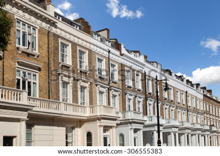 Row of typical houses in London - stock photo