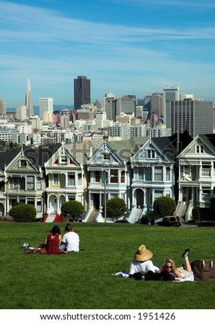 Row of Victorian houses (Painted Ladies) in San Francisco, Alamo Square - stock photo