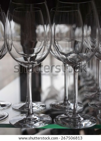 Row of wine glasses                                - stock photo