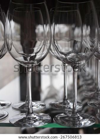 Row of wine glasses                                - stock photo