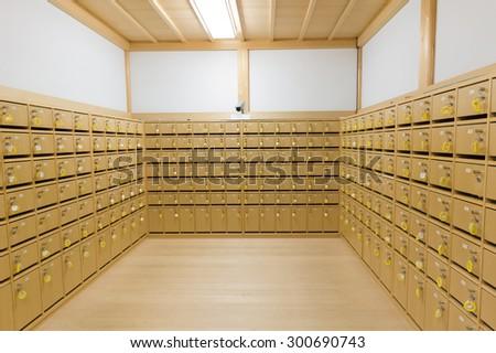 row of wood lockers. - stock photo