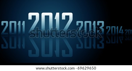 Row of years with reflections on black background (theme of 2012 year) - stock photo