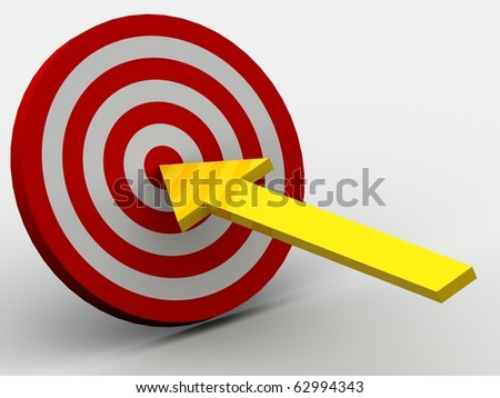 Row Red and White target with arrow - stock photo