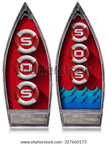 Rowboat with Lifebuoys and Text Sos / Two rowboats with three lifebuoys inside and text Sos, blue waves and red velvet. Isolated on white background - stock photo