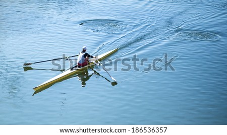 Rower (view from above) - stock photo