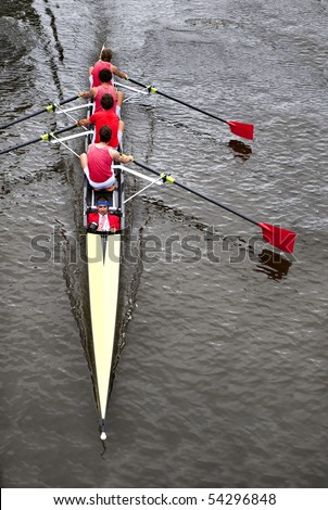 Rowing: a coxed four (4+) from above, - stock photo
