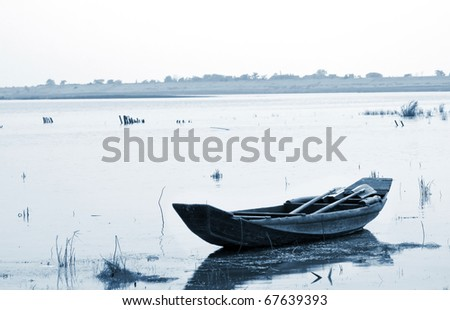 rowing boat,water boat, material. - stock photo
