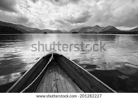 Rowing Boats on lake  Derwentwater near Keswick, England. - stock photo